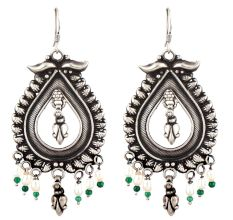Big Teardrop 92.5 Sterling Silver Earrings With Motifs Floral Design pearl and Green Peridot Beads Hangings