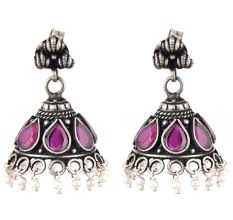 Handmade 92.5 Steling Siver Earrings Ametyst Stone Jhumki With Pearl Beads