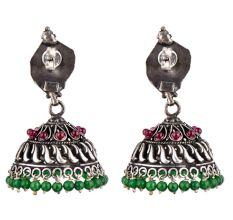 92.5 Stering Silver Earrings Tribal Stud Amethyst And Green Onyx Stone Jhumki