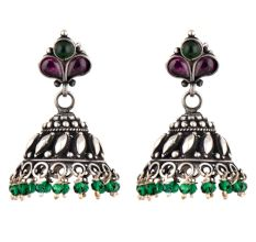 Amethyst Green Onyx 92.5 sterling Siver Earrings Traditonal Motifs And Green Onyx Hangings