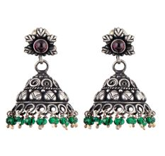 Floral 92.5 Sterling silver earrings Embossed Design Green onyx Beads Jhumki