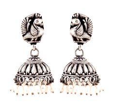 92.5 Sterling Silver Earrings Peacock Engraved Stud Tribal Jhumki Pearl Beads