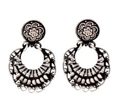 92.5Sterling Silver Earrings with Floral Pattern Chand Bali Designer Earrings