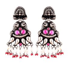 Peacock 92.5 Sterling Silver Earrings tribal Motifs With Peal and Red Coral Stone Tassels