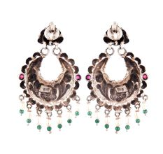 92.5 Sterling Silver Earrings Floral Design Embossed Chandbali With Pearl and green Onyx Beads Tassels