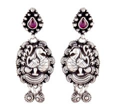 Big Peacock 92.5 Sterling Silver Earrings Danglers With Big Teardrop Amethyst Stone