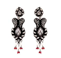 Black 92.5 Sterling Silver Earrings Floral Pattern Conch Motif Border Red Coral Beads Hangings