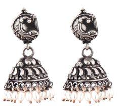 Curved Fish 92.5 Sterling Silver Earrings Embossed Design Pearl Hangings