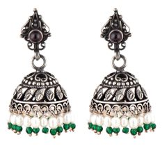 Black Oxidized 92.5 Sterling silver Earrings Tribal Carvings And Design With Pearl Green Onyx Beads Tassels