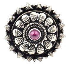 Adjustable 92.5Sterling Silver Ring Oxidized Starry Flower Design With Round Amethyst Stone
