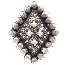 Adjustable Diamond  92.5 Sterling Silver Ring Oxidized Engraved Tribal Motifs Design