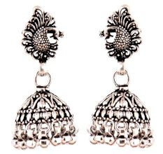 Peacock Stud 92.5 Sterling Silver Jhumkis Earring Silver Beads Hangings