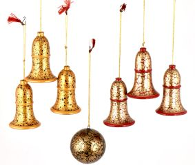 Bell Paper Mache Christmas Ornaments In Bell And Ball Shape ( Set Of 7)