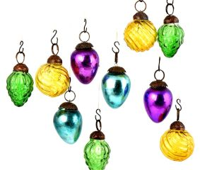 Set of 10 Handmade Vibrant Multicolored Mini Christmas Ornaments In Assorted Styles