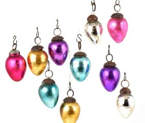Set of 10 Handmade Blue Purple Silver Golden Mini Christmas Ornaments In Assorted Styles