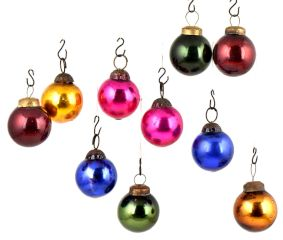 Set of 10 Handmade Multi Colored Balls Mini Christmas Ornaments