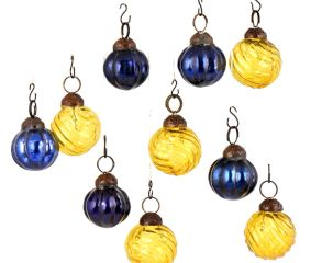 Set of 10 Handmade Yellow And Navy Blue Mini Christmas Ornaments In Assorted Styles