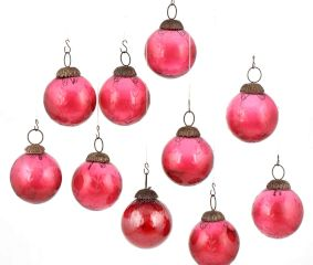 Set of 10 Glossy Pink Glass Christmas Ornaments In Ball Shape
