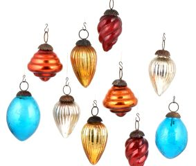 Set Of 10 Colorful Glass Christmas Ornament in Assorted Styles