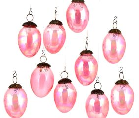 Set Of 10 Pink Glass Christmas Ornaments In perfect Pear Shape Party Decoration