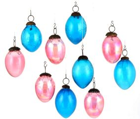Set Of 10 Glass Christmas Ornaments Pear Shaped in Blue And Pink Colors