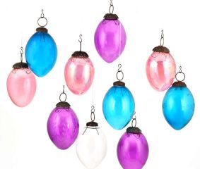 Set of 10 Pear Glass Christmas Ornaments Handpainted In Bright Colors