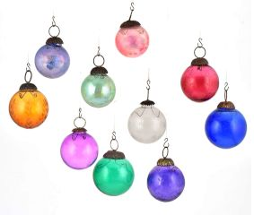 Set of 10 Multicolored Glass Christmas Ornaments Christmas Tree Hanging
