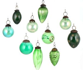Set of 10 Green Glass Christmas Ornaments In Different Hues