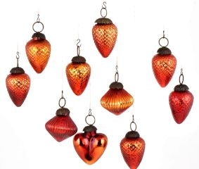 Set Of 10 Fiery Orange Glass Christmas Ornaments In Assorted Styles