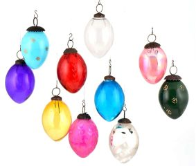 Set Of 10 Assorted Glass Christmas Ornaments Pear Shaped Colorful Hanging