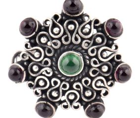 Amethyst Stone 92.5 Sterling Silver Ring Stone Studded Filigree Pattern Festive Wear For Girls (Free Size)