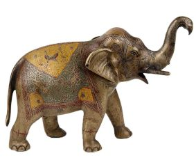 Brass Standing Elephant Trunk Up With Carved Enamel Work