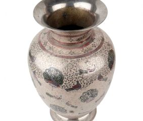 Brass Flower pot With White Enamel Work Etched Birds