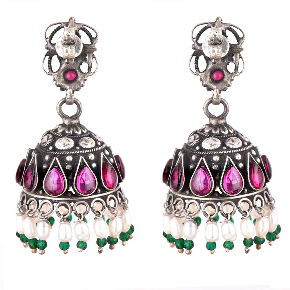 Amethyst Studded 92.5 Sterling Silver Earrings Oxidised Jhumki With green Peridot And Pearl Tassels
