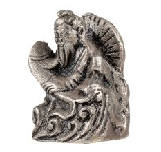 Aluminum Wise Man Holding a Fish Statue Waves Sitting On Throne Figurine