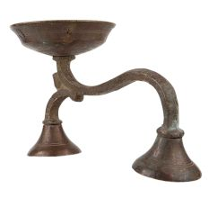 Brass Oil Lamp  Diya With Long Stand  Twin Base