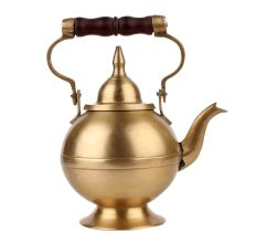 Pure Brass Tea Pot With Wooden Handle and Dome Shape Lid