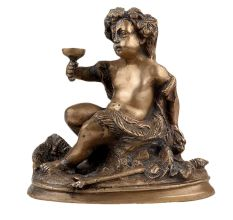 Brass Cherub Prince Statue with  Glass In Hand Italian Renaissance Statue