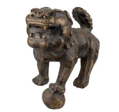 Brass Male Foo Dog Lion Playing Ball  Mouth Open Home Decoration statue