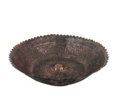 Handmade Copper Bowl Engraved Floral Scalloped Design