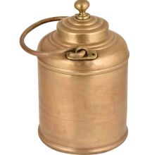 Brass Milk Pot Light Engraved With Circular Lines And Owner name