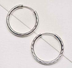 92.5 Sterling Silver Hoop Earrings Textured Bali For Women