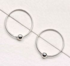 92.5 Sterling Silver Bali Earrings With Single Bead In Center