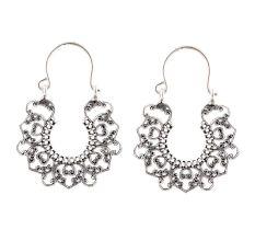 92.5 Sterling Silver Earrings Bali Filigree Heart Drop Dangler
