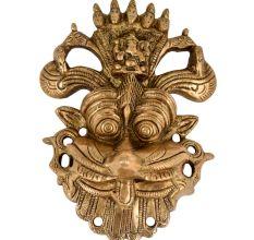 Brass Wall Hanging  Religious Mahakal Fierce Monster Face