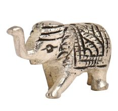 Brass Incense Holder Standing Elephant Figurine with Trunk Up