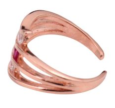 92.5 Sterling silver Toe Ring American Diamond Pink Tourmaline Studded Bichua Rose Gold  polish (Pair)