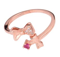 Bowtie 92.5 Sterling Silver Toe Ring American Diamond Pink Tourmaline Studded Gold Polish Bichuas (Pair)