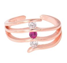 Stones Studded 92.5 Sterling Silver toe rings  with American Diamond ad pink Tourmaline Rose Gold Finish (Pair)