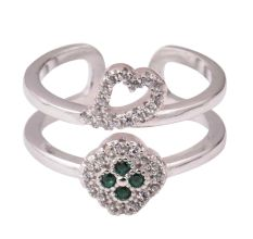 92.5 Sterling Silver Toe Ring Heart Floral American Diamond Green Onyx Modern Jewelry (Pair)